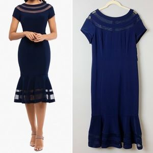 Xscape Navy Illusion Trim Ruffle Midi Dress Sz 12